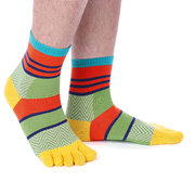 Men's Five Toe Socks Colorful Middle Tube Toe Socks Cotton Breathable Sports Socks