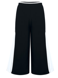 Casual Elastic Waist Zipper Pleated Patchwork Wide Leg Pants For Women