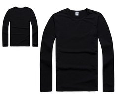 Men's Casual O-neck Solid Color Long Sleeve Cotton T-shirt Tops