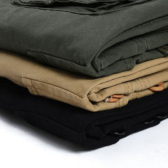 Casual Loose Multi-Pocket Long Cargo Pants Straight Solid Color Pants For Men
