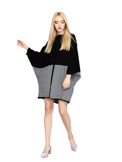 Loose Color Contrast Batwing Sleeve Knit Dress For Women