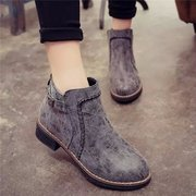 Pure Color Sewing Stitching Zipper Square Heel Ankle Boots