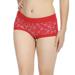 M-L Women Cosy Cotton Floral Printing Panties Mid Waist Breathable Underwear