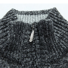 Mens Casual Fleece Stripes Thick Warm Half Zipper Stand Collar Knitted Sweater