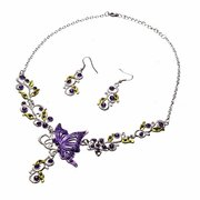 Crystal Butterfly Flower Bridal  Earring Necklace Set