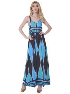 Lztlylzt Women Geometric Print Backless Slit V-neck Sleeveless Maxi Dress