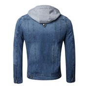 Mens Stylish Denim Jacket Detachable Hood Multi-pocket Slim Fit Fall Winter Jackets
