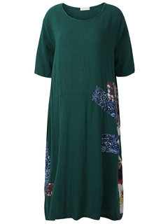 Casual Women Loose Printing Stitching Short Sleeved Cotton Dress