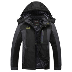 Plus Size Winter Outdoor Thicken Climbing Waterproof Windbreaker Hooded Jacket for Men