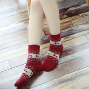 Women Wool Warm Long Ankle Socks Elk Animal Pattern Stockings Christmas Gifts
