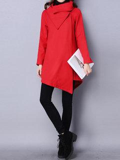 Women Irregular Long Sleeve Pure Color Winter Thicken Wool Coat
