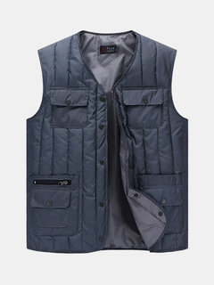 Winter Thicken Outdoor Multi-Pockets Duck Down Casual Loose Waistcoat for Men