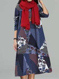 Casual Patchwork Printed Vintage Women O Neck Long Sleeve Dress