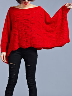 Casual Women Batwing Sleeve Hollow Loose Knit Sweater