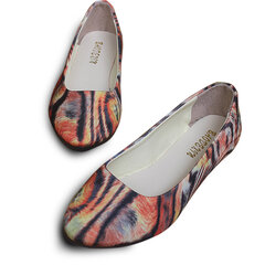Big Size Multi Color Feather Floral Print Pattern Stripe Slip On Flat Loafers
