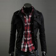 Men's Fashion Multi-pocket Stand Collar Outwear Slim Fit Cotton Jacket