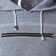 Casual Cotton Thick Mosaic Rib Chest Zipper O-Neck Long Sleeve Hoodies For Men