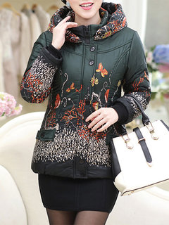 Casual Printed Long Sleeve Zipper Hooded Down Jacket For Women