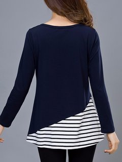 Casual Stripe Patchwork O-Neck Long Sleeve Blouse For Women