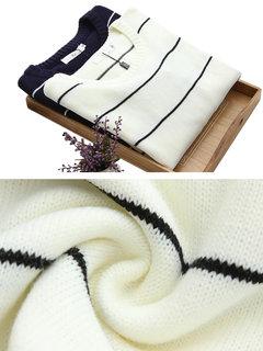 Краткая полоса O-образным вырезом с длинным рукавом Пуловер вязать свитер для женщин
