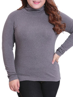 Plus Size Pure Color Long Sleeve Bottoming Blouse For Women