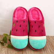 Cute Cartoon Watermelon Warm Indoor Slip On Flat Home Shoes