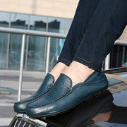 For Men Folded Two Way Wearing Leather Slip On Driving Loafers Shoes