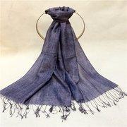 Women Solid Silk Scarf Plus Size Wide Plain Luxury Tassel Shawl