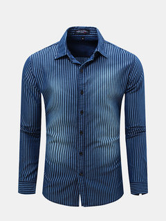 Mens Spring Blue White Stripe Turndown Collar Long Sleeve Slim Fit Shirts