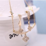 Jewelry Set Four Leaf Flower Rhinestone Necklace Earrings Set