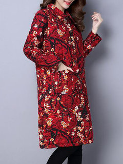 Floral Printed Lapel Long Sleeve Button Thicken Long Coat For Women