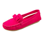 Butterflyknot Suede Pure Color Slip On Flat Shoes