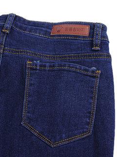 Женщины Pure Color Hole кисточки Тонкий Stretch Джинсовые брюки ракетницы Брюки