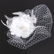 Wedding Bridal Birdcage Face Veil Net Hair Fascinator Feather Flower With Comb
