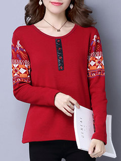 Casual Sleeve Printed O-Neck Long Sleeve Pullover Thicken Blouse