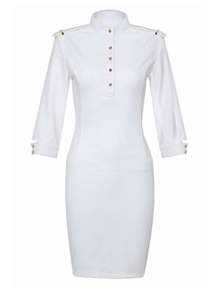 Stand-Up Collar 3/4 Sleeve Bodycon Pencil Dress