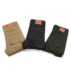 Fall Winter Mens Multi-pocket Outdoor Loose Solid Color Cotton Cargo Pants
