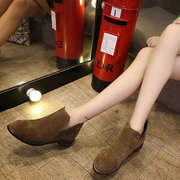 British Style Slip On Thick Heel  Short Ankle Boots