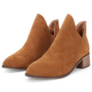 Pure Color Pu Hollow Out Slip On Ankle Boots
