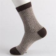 Men Women Stripe Wave Pattern Woolen Rabbit Fur Socks Thicken Long Hosiery Socks