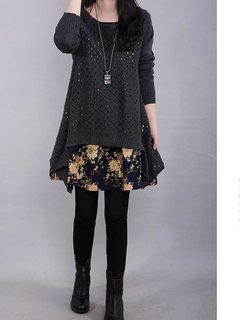 Retro Knitted Printed Long Sleeve Patchwork Sweater Dress