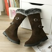 Big Size Buckle Fur Lined Mid Calf Warm Slip On Boots