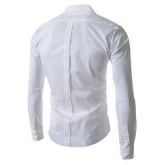 Men's Fashion Sideling Button Deer Embroidery Shirt Casual Unique Long Sleeve Shirt