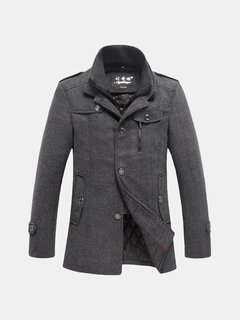 Men's Winter Thick Warm Jacket Tweed Single Breasted Stand Collar Woolen Coats