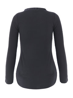 Women Sexy V-neck Long Sleeve Slim Solid Color T-shirt