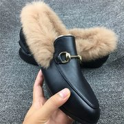 Furry Metal Chain Slip On Office Lady Black Shoes For Women