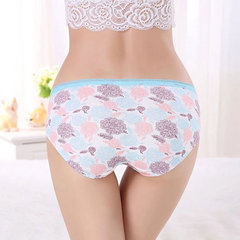 Cozy Breathable Cotton Printing Soft Panties Mid Waist Underwear For Women