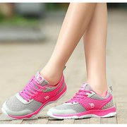 Camel Mesh Color Match Breathable Lace Up Flat Casual Sport Shoes
