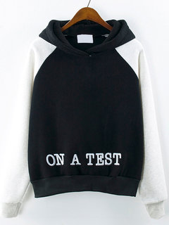Women Casual Letter Print Thicken Hooded Hoodie