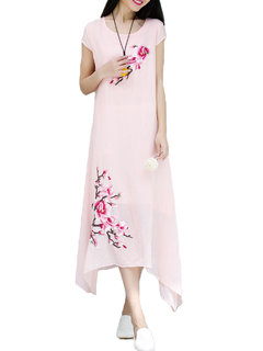 Women Ethnic Floral Embroidered Short-Sleeve Loose Dress